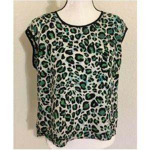 Cabi Green Envy Jungle Animal Print Cap Sleeve Top